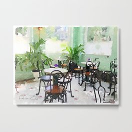 Watercolor Cafe Metal Print