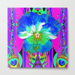 Purple Pansy Garden Fantsy Abstract Metal Print