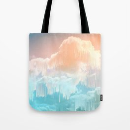Frozen Sky Glitch - Icy blue & peach #glitchart #decor Tote Bag