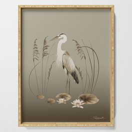 Heron and Lotus Flowers Serving Tray