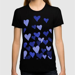 Valentine's Day Watercolor Hearts - blue T-shirt
