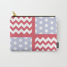 Light Red/Pastel Blue Chevron/Polkadot Pale Color Pop Zigzag Carry-All Pouch