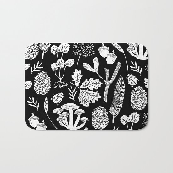 Linocut minimal botanical boho feathers nature inspired scandi black and white art Bath Mat