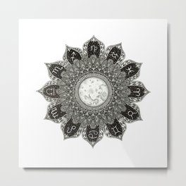 Astrology Signs Mandala Metal Print