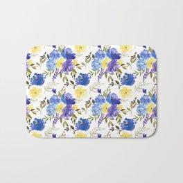 Pastel yellow blue lavender watercolor elegant floral Bath Mat