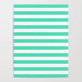 Menthol green and white horizontal stripes Poster