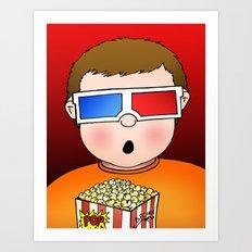 3D Popcorn Kid Art Print