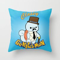 squirtle Throw Pillows featuring Classy Squirtle by tshirtsz