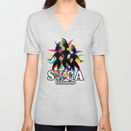Soca Warrior design : Party Gift for Carnival Music and Wining,  Caribbean Reggae Dancehall Culture Unisex V-Neck