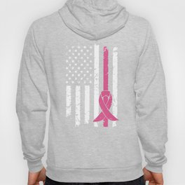 Breast Cancer Awareness T-Shirt American Flag Distressed Hoody