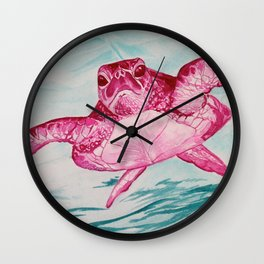 Pink Honu Wall Clock