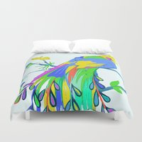 peacock Duvet Covers featuring Peacock  by Saundra Myles