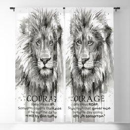 Lion Courage Motivational Quote Watercolor Painting Blackout Curtain