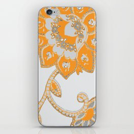 vintage paisley orange/grey iPhone Skin
