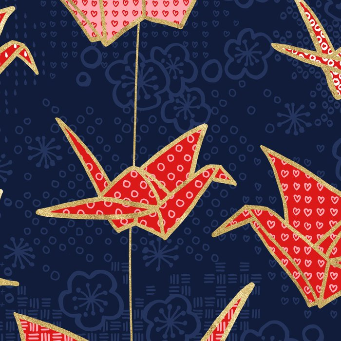 Red origami cranes on navy blue Leggings