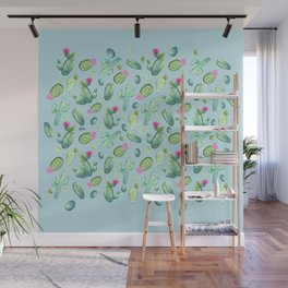 Green Cactus with Pink Bloom | Watercolor Cacti on Cyan Background Wall Mural