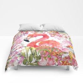 Flamingo in Tropical Flower Jungle Comforters