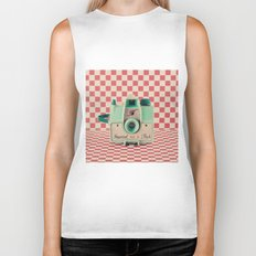 Mint Retro Camera on Red Chequered Background  Biker Tank