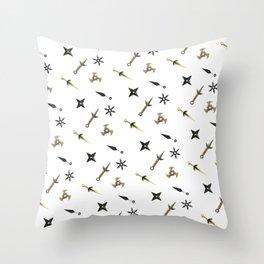 Kunai & Shuriken Japanese Ninja Design Pattern Throw Pillow