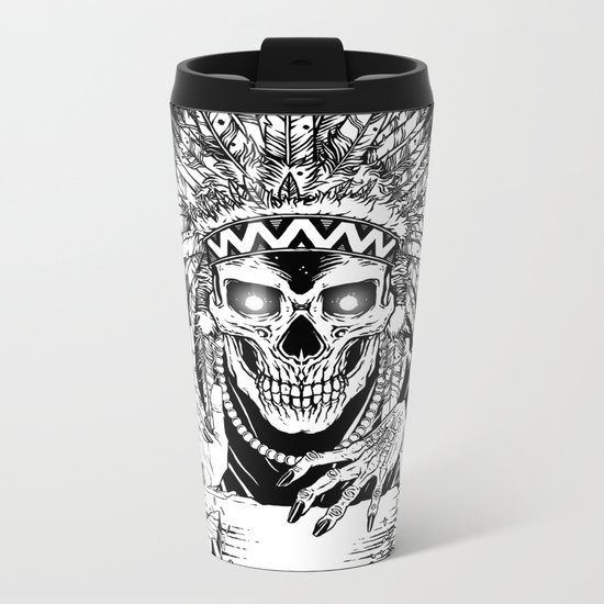 INVASION - Black and white variant Metal Travel Mug