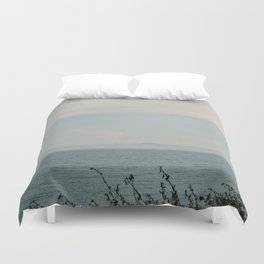 Turquoise Teal Blue Sunset Beach Ocean Seascape Landscape with Sail Boat Nautical Mountain Island  Duvet Cover