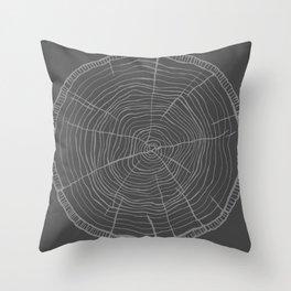 Tree rings grey Throw Pillow