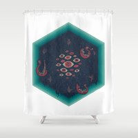 lovecraft Shower Curtains featuring Hex by Hector Mansilla