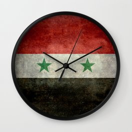 National flag of Syria - vintage Wall Clock