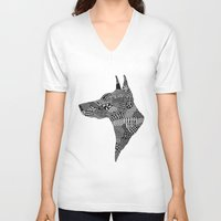 doberman V-neck T-shirts featuring Doberman Profile by K J Guindon