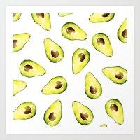avocado Art Prints featuring avocado by Lucia Devetakova