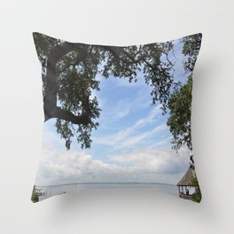 OuterBanks Vacation Blue Sky Landscape Scene Throw Pillow