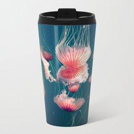 pink jellyfish Metal Travel Mug