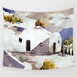 Greek Island Patio Scene Wall Tapestry