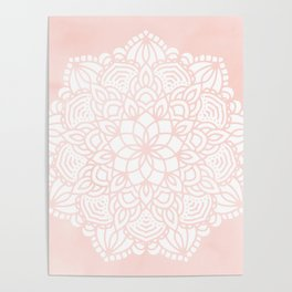 Mandala Mermaid Sea Pink by Nature Magick Poster