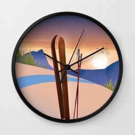 Ski landscape poster Wall Clock