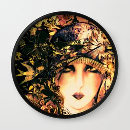ART DECO FLAPPER COLLAGE POSTER PRINT, ROSES, BIRDS BUTTERFLIES ,LADY Wall Clock