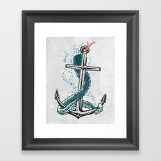 Anchor and Tentacle (Riso edition) Framed Art Print
