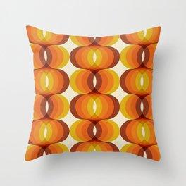 Orange, Brown, and Ivory Retro 1960s Wavy Pattern Throw Pillow