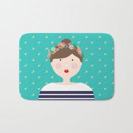 Girl in Flower Crown Bath Mat