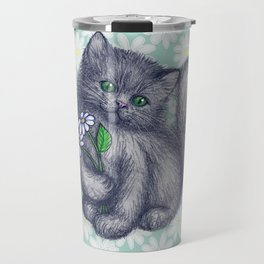 Cute Kitten with Daisies Travel Mug
