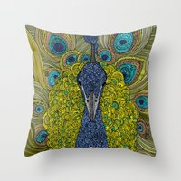 urban Throw Pillows featuring Mr. Pavo Real by Valentina Harper