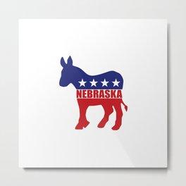 Nebraska Democrat Donkey Metal Print