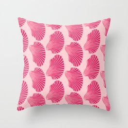Scallop Shell Block Print, Fuchsia and Pale Pink Throw Pillow