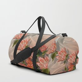 """Coral flowers on white silk"" (Air Spring) Duffle Bag"