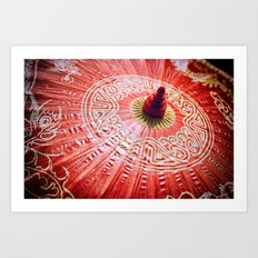 Red Silk Chinese umbrella Art Print