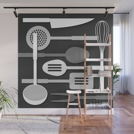 Kitchen Utensil Silhouettes Monochrome III Wall Mural