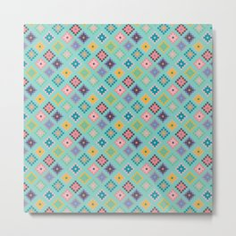 Pixel Diamond Pattern Metal Print