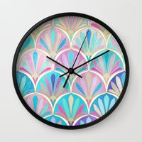 deco Wall Clocks featuring Glamorous Twenties Art Deco Pastel Pattern by micklyn