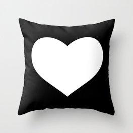Black Heart on White Throw Pillow