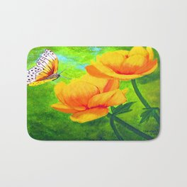 Butterfly with flowers Bath Mat